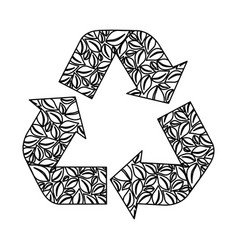 Monochrome recycling symbol with arrows and formed vector