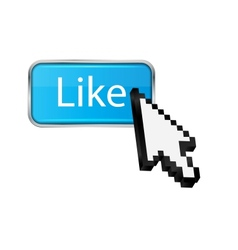 Mouse hand cursor on like button vector