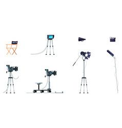 Movie equipment semi flat rgb color set vector