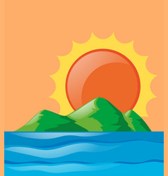 nature scene of ocean at sunset vector image