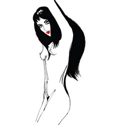 nude girl with fluffy developing black hair vector image