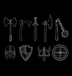 old viking weapons - ax sword flail shields vector image