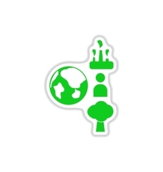 Paper sticker on white background eco chart vector