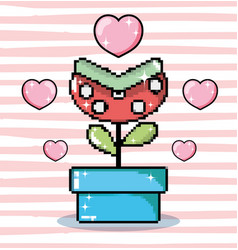 Pixel art carnivore flower in tub vector