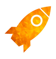 polygon golden icon rocket vector image