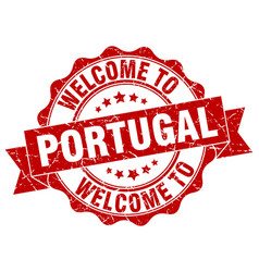 portugal round ribbon seal vector image