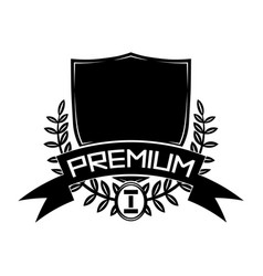 premium badge with shield and laurel wreath vector image