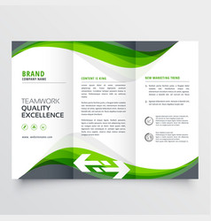 Professional creative green wavy trifold brochure vector