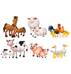 set farm animal vector image