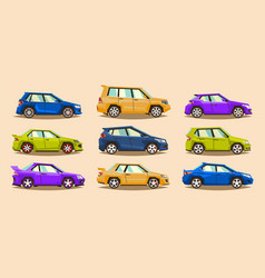 set of cars collection vehicle sedan hatchback vector image