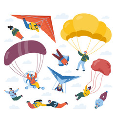 Skydiver sportsmen parachute extreme sport sky vector