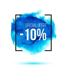 Special offer sale on blue watercolour background vector image