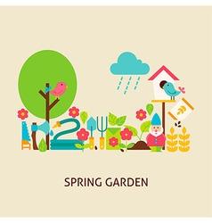 Spring Garden Flat Concept vector