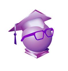 Square academic cap dressed on sphere purple vector
