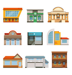 Store shop front window buildings icon set flat vector