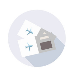 tickets for travel plane icon with long shadow vector image