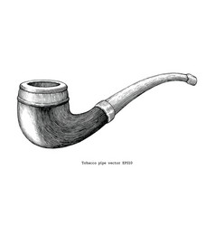 tobacco pipe hand drawing vintage clip art vector image