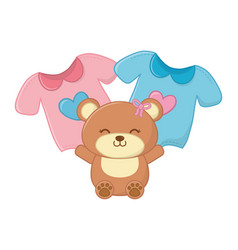 Toy bear and baclothes vector