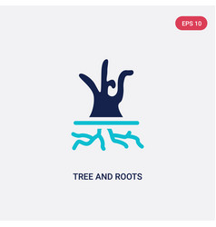 two color tree and roots icon from ecology vector image