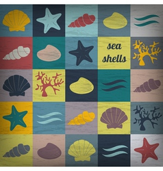 Vintage seashell flat wallpaper vector