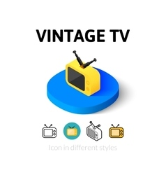 Vintage TV icon in different style vector image