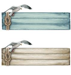 watercolor wooden nautical vintage banner vector image