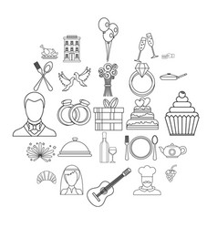 wedding banquet icons set outline style vector image