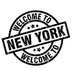 welcome to new york black stamp vector image