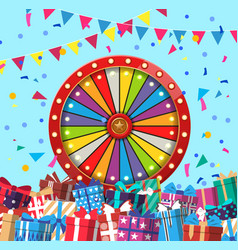 Wheel fortune and presents in vector