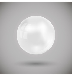White Sphere Ball on Gray Bacground vector image