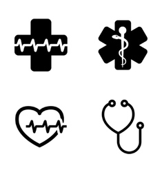 black medical symbol icons set vector image vector image