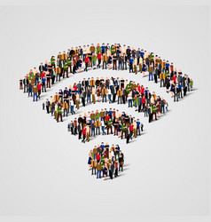 Large group of people in the wi-fi sign shape vector