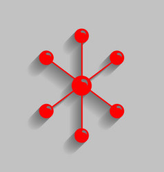 molecule sign red icon with vector image