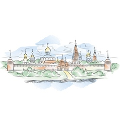 russian monastery and river vector image