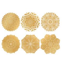 set of 6 hand-drawn gold arabic mandala on white vector image vector image