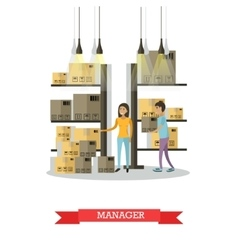 Warehouse female manager comic character vector image vector image
