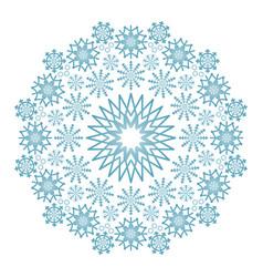 winter colored circular mandala with snowflakes vector image