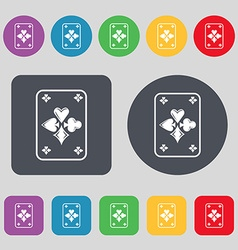 game cards icon sign A set of 12 colored buttons vector image