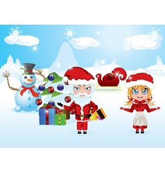 Santa and Mrs Claus3 vector image vector image