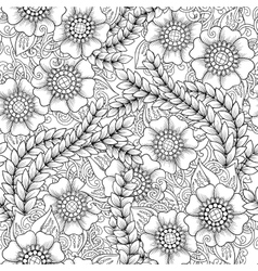 Seamless floral doodle black and white background vector image vector image