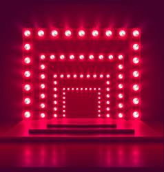 retro show stage with light frame decoration game vector image vector image