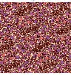 Seamless background with hearts and world Love vector image vector image