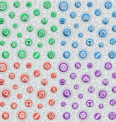 Social Networking Flat Outline Pattern vector image vector image