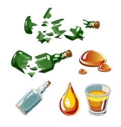 Broken bottle drop alcohol glass isolated vector