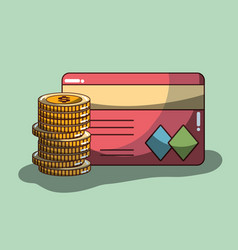 Coins with credit card financial economy vector