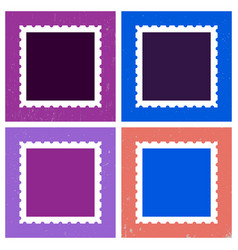 colored postage stamp template vector image vector image