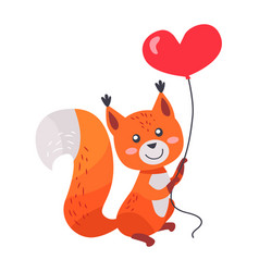 fox with red heart shaped balloon in paws isolated vector image vector image