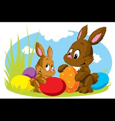 rabbit with eggs vector image