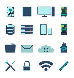 Set of computer and datebase icons vector
