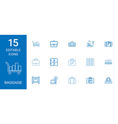 15 baggage icons vector